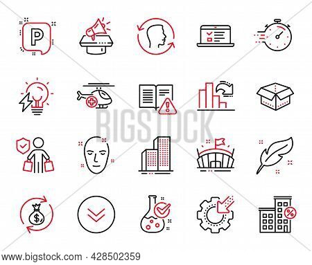 Vector Set Of Business Icons Related To Decreasing Graph, Seo Gear And Scroll Down Icons. Medical He