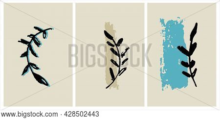 Decor Printable Art. Hand Drawn Vector Illustrations Of Branch On Background With Brushstroke Textur