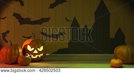 Lanterns Glowing At Moonlight In The Spooky Night - Halloween Scene, 3d Rendering