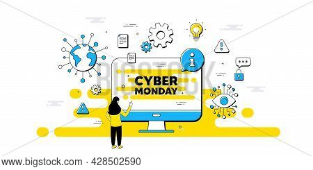 Cyber Monday Sale Text. Internet Safe Data Infographics. Special Offer Price Sign. Advertising Disco
