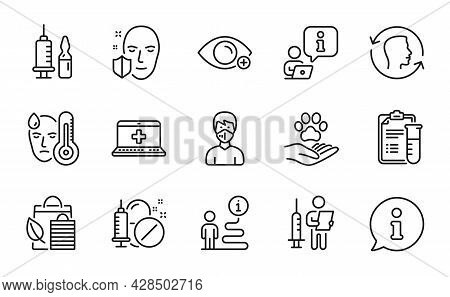 Healthcare Icons Set. Included Icon As Pets Care, Face Protection, Medical Vaccination Signs. Medica