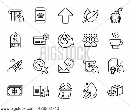 Vector Set Of Packing Boxes, Group And Sponge Line Icons Set. Banking, Sale Coupon And Smartphone Bu
