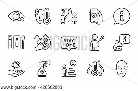 Medical Icons Set. Included Icon As Sun Protection, Stay Home, Face Recognition Signs. Dirty Mask, M