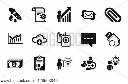 Vector Set Of Passport Document, Paper Clip And Technical Documentation Icons Simple Set. Chemistry