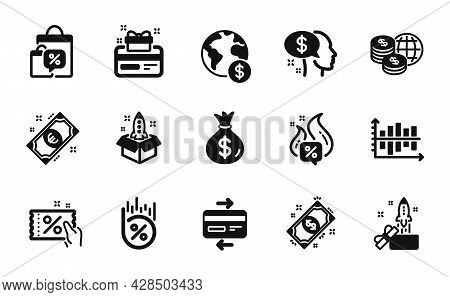 Vector Set Of Payment, World Money And Startup Icons Simple Set. Loan Percent, Loyalty Card And Diag