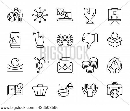 Vector Set Of House Protection, Elastic Material And Online Rating Line Icons Set. Tips, Fragile Pac