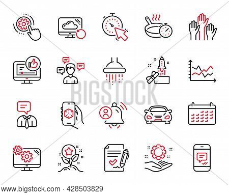 Vector Set Of Technology Icons Related To User Notification, Message And Employee Hand Icons. Calend