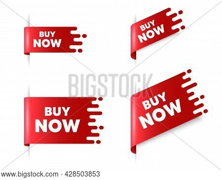 Buy Now Text. Red Ribbon Tag Banners Set. Special Offer Price Sign. Advertising Discounts Symbol. Bu