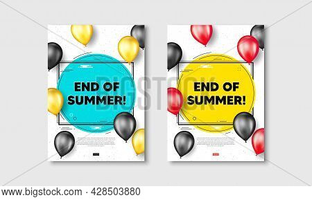 End Of Summer Sale. Flyer Posters With Realistic Balloons Cover. Special Offer Price Sign. Advertisi