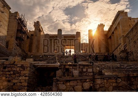 Acropolis Of Athens In Sunlight, Greece. Sunny View Of Propylaea, Old Entrance To Acropolis. It Is T