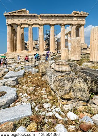 Acropolis Of Athens, Greece. Parthenon Temple In Distance. Vertical View Of Ancient Greek Building,