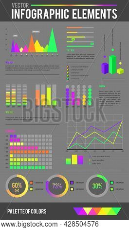 Set Infographic Elements Collection. Flat Itdesign Style For Presentation