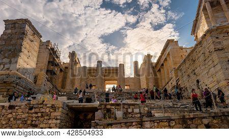 Athens - May 8, 2018: Propylaea Of Famous Acropolis In Athens, Greece. Entrance To Acropolis Is Tour