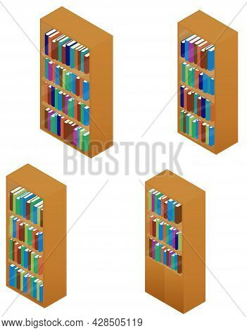 Wooden Bookcase Set With Book Isolated On White. Bookshelves For Library With Multicolored Books. Ve
