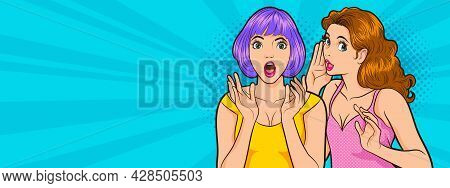Pop Art Surprised Woman Face With Open Mouth.sexy Surprised Blonde Pop Art Woman With Wide Open Eyes