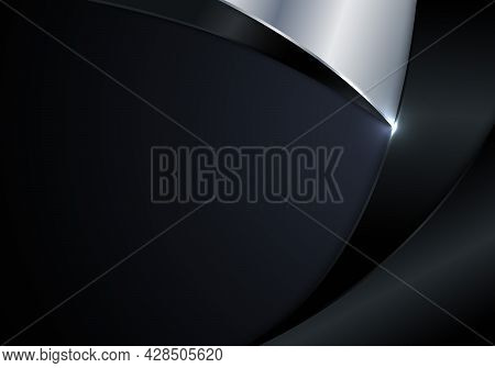 Modern Luxury Template Abstract Black And Silver Metallic Curve Shape With Lighting On Dark Blue Bac