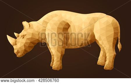Beautiful Vector Low Poly Illustration With Stylized Abstract Rhino Silhouette On The Brown Backgrou