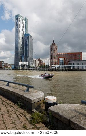 Rotterdam,the Netherlands - July 31 2021: Rigid Inflatable Boat With Tourists Speeding In The Koning