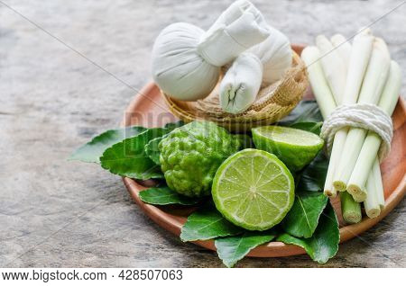 Fresh Bergamot Fruit And Lemongrass For Raw Material Or Ingredient Of Thai Style Herbal Compress In