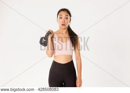 Sport, Wellbeing And Active Lifestyle Concept. Portrait Of Cute Brunette Asian Fitness Girl, Sign Up