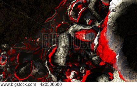 Bloody Rutile Mountain. Rusty Rocks Textured Metal Textured Surface, Painted With Old Yellow Acid Pa