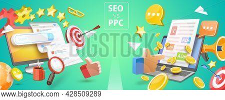 3d Vector Conceptual Illustration Of Seo Vs Ppc, Comparison Pay Per Click And Search Engine Optimiza