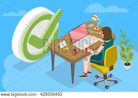 3d Isometric Flat Vector Conceptual Illustration Of Ergonomically Correct Workstation, Proper Sittin