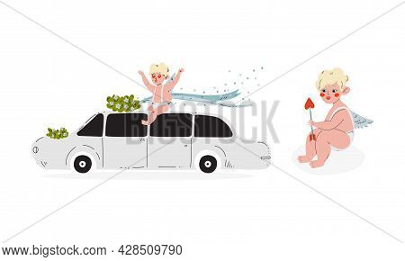 Cute Blond Cupid Boy Sitting On Limousine And Holding Arrow Vector Set