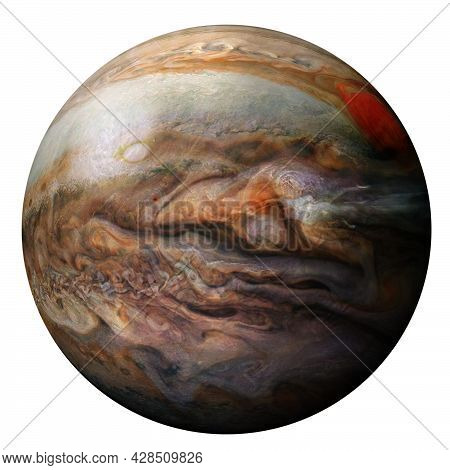 Jupiter Planet Isolated On White Background. Elements Of This Image Are Furnished By Nasa.