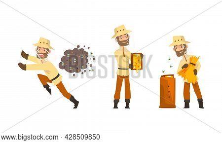 Beekeeper Or Apiarist With Beehive And Brood Frame Honey Harvesting Vector Set