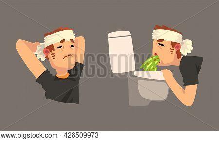 Sick Man With Bandaged Head Having Headache Vomiting Vector Set
