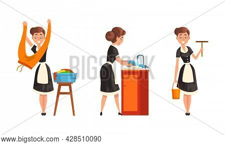 Smiling Maid Or Housemaid In Black Dress And White Apron Doing Laundry And Washing The Dishes Vector