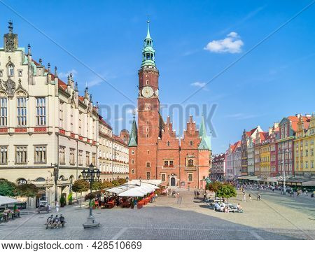 Wroclaw, Poland. View Of Market Square And Gothic Town Hall