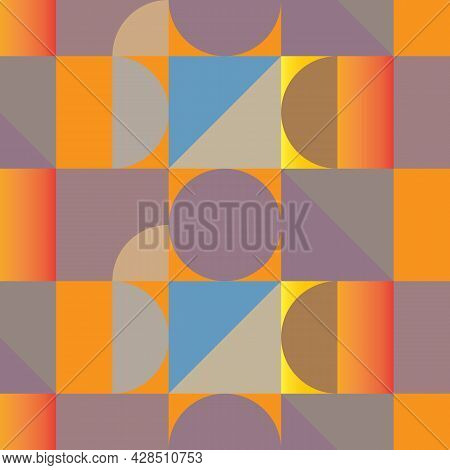 Geometric Vector Pattern, Repeating Square Circle And Half Circle In Gradient Affect Pattern Is Clea