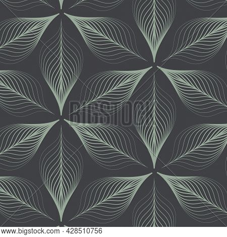 Linear Vector Pattern, Repeating Abstract Leaves, Green Line Of Leaf Or Flower, Floral In Dark Backg