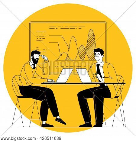 Office Scene. Managers Are Discussing Business Issues, Negotiation, Brainstorming, Talking To Each O
