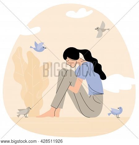 Vector Catoon Illustration Of Sad Girl Sitting And Unhappily Hugging Her Knees. Young Woman In Depre