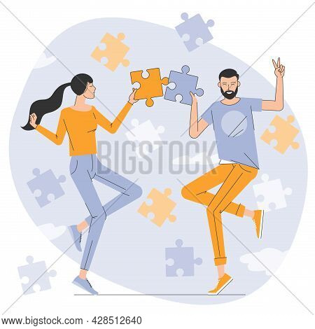 Flat Design Vector Illustration Of Young Man And Woman Assembling Jigsaw Puzzle. Couple Working On R