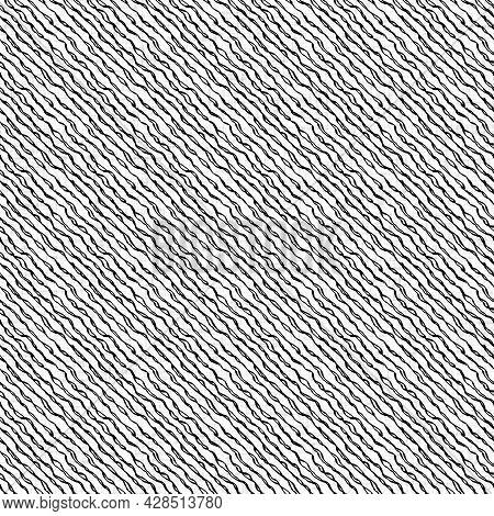 Seamless Black White Woven Cloth Stripe Linen Texture. Two Tone Monochrome Pattern Background. Moder