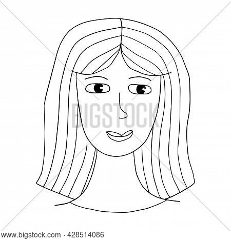 Cute Cartoon Abstract Doodle Girl Portrait Isolated On White Background. Woman Face.
