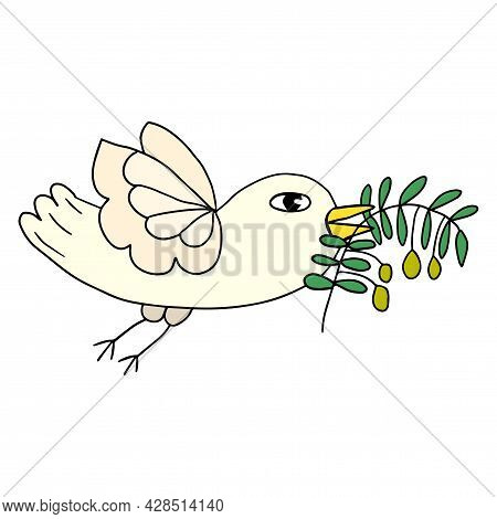Cartoon Doodle Flying Dove Bird, Pigeon With Olive Branch Isolated On White Background. Peace Symbol