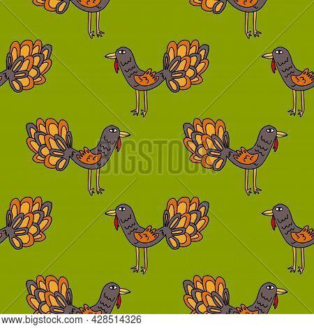 Cartoon Rooster, Turkey. Bird In Doodle Style Seamless Pattern. Farm Animal Background.