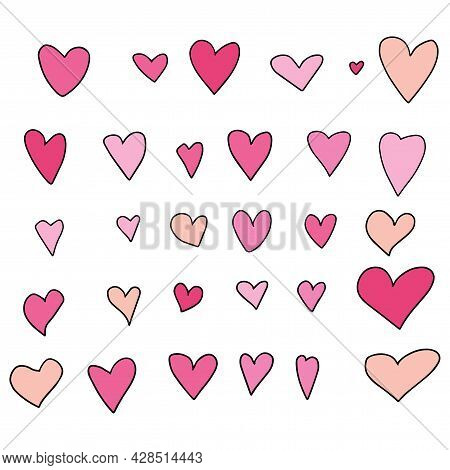 Cute Doodle Hearts Set Isolated On White Background. Set Of Love Signs, St. Valentine's Day Collecti