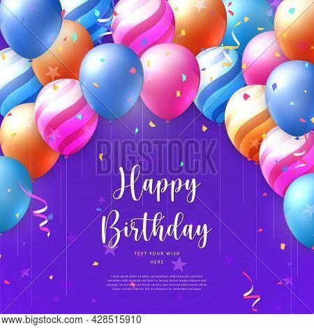 3d Realistic Elegant Vivid Vibrant Ballon And Party Popper Ribbon Happy Birthday Celebration Card Ba