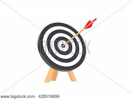 Arrow Hit To Center Of Dartboard Isolated On White Background. Archery Target And Bullseye. Business
