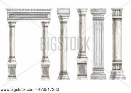 Roman Stone Column Set, Vector Marble Greek Pillar Collection, Ancient Architecture Decorative Objec