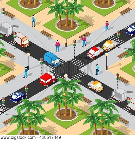 Isometric Street Crossroads 3d Illustration Of The City Quarter With Streets