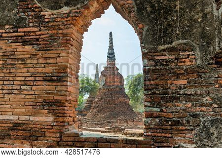 Historical Architecture Of Thailand - Ruins Of Old Siam Capital Ayutthaya. View To Stupas Of Wat Pra