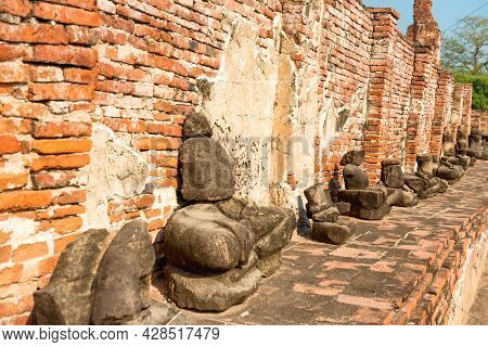 Historical And Religious Architecture Of Thailand - Ruins Of Old Siam Capital Ayutthaya. Brick Remai