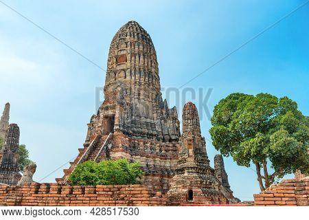 Ruins Of Buddhist Temple Wat Chai Watthanaram In Ayutthaya, Thailand